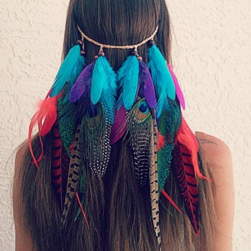 Clip in, feather veil,  Feather headband, native, american, style, hippie headband, bohemian headband, wedding veil, feather veil