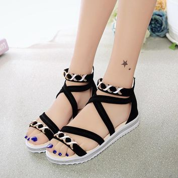 Summer Shoes Woman Hot Selling Sandals Women 2016 Peep-toe Flat Shoes Basic Sandals Wo