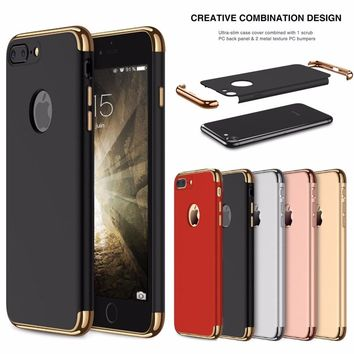 For iphone 8 7 6S X Case Luxury Plating 360 Full Protective Case For iPhone8 7 6 6S Plus 3 in 1 Black Matte Hard Phone Cover