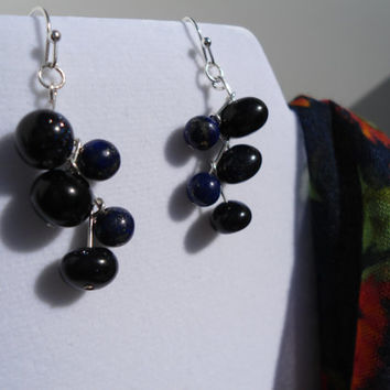Ocean Depths: Blue Earrings, Sparkle Earrings, Lapis Earrings, Sandstone Earrings, Blue Sandstone Earrings