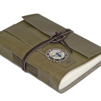 Olive Green Leather Journal with Cameo Bookmark - Ready to Ship -