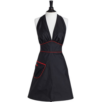 Bombshell Stylist Apron Black with Red Trim