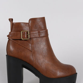 Buckled Lug Sole Platform Heeled Ankle Boots