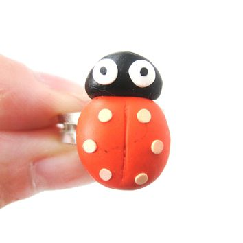 Ladybug Insect Bug Themed Polymer Clay Adjustable Ring | DOTOLY