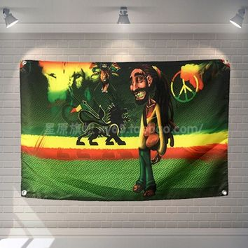 """""""Bob marley"""" Big size rock band Sign retro poster 56X36 inches HD Banners Flags cloth art Living room decor"""