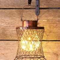 Chicken Wire Lantern Solar Hanging Fluted Rustic Primitive Farmhouse Decor