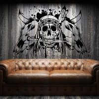 Indian warrior and bull skulls wall decal, vinyl decal, wall art.