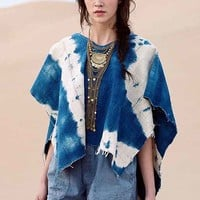 Urban Renewal Indigo Mud Cloth Poncho- Blue One