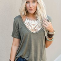Scoop Neck Bralette Tops - Olive