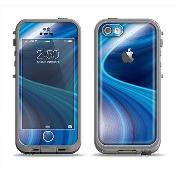 The Gradient Waves of Blue Apple iPhone 5c LifeProof Fre Case Skin Set
