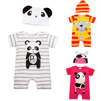 Baby Rompers Summer Style Baby Girls Clothes Animal Newborn Infant Jumpsuits Ropa Bebes Baby Boy Brand Clothing Set Romper+Hat