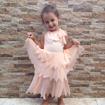 Flower girl- peach flower Tinkerbell fairy dress