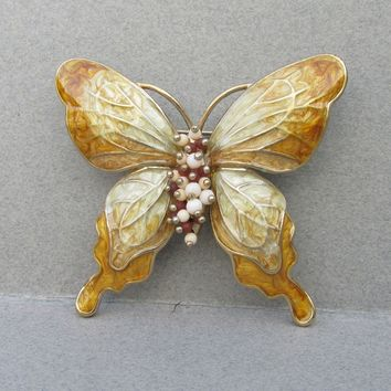 Signed LC Liz Claiborne 1990's Vintage Yellow & White Enamel BUTTERFLY Pin