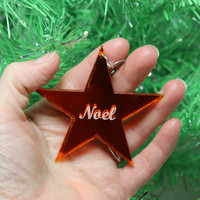 Noel Star Christmas Ornament Orange Mirrored Acrylic with Shimmery white glitter back