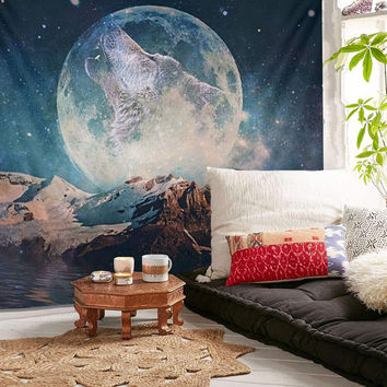150X130cm Wolf Moon Wall Hanging Tapestry Picnic Cloth Yoga Mat Rug Bedspread Throw Blanket Home Room Decoration Textiles