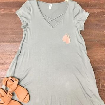 Crossing Paths Pocket Dress: Sea Green
