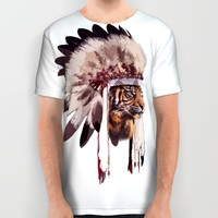 Tiger in war bonnet All Over Print Shirt by Li9z | Society6