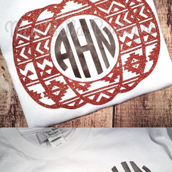 Fall Aztec Monogram Pumpkin Women's Shirt - Women's Vinyl Shirt - Women's Fall Shirt - Women's Autumn Shirt - Monogram Pumpkin Shirt