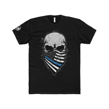 Skull with Blueline Bandana