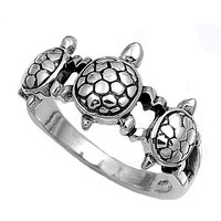 Sterling Silver Woman's Turtle Ring Cute 925 New Fashion Band 11mm CYBER MONDAY DEALS 2014