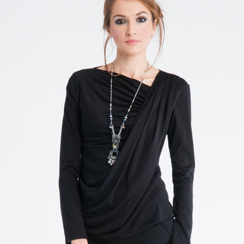 Sale 20% Off Black Blouse for women, Winter Cotton Top, Casual Top