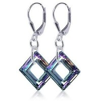 SCER197 Sterling Silver Square Vitrial Light Earrings Made with Swarovski Elements