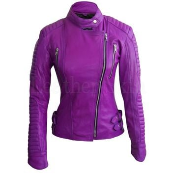 Women Purple Brando Pad Leather Jacket