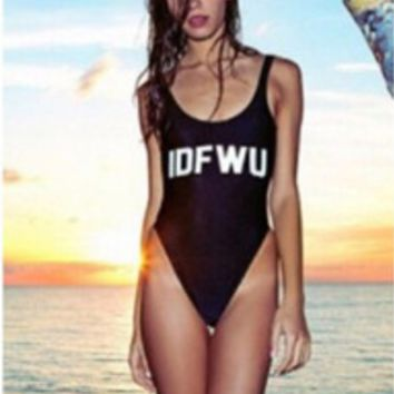 "Black""IDF WU"" One Piece Swimsuit"