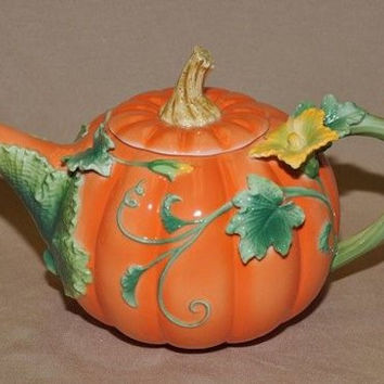 Painted Pumpkin Teapot - Only 1 Left!