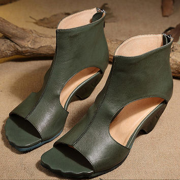 Sweet Green Handmade Leather Vintage Sandals Women Color Blocking Pumps,open toe Sandals,Sexy high-top pumps,designer shoes women 2016
