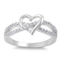 Cubic Zirconia Infinity Heart .925 Sterling Silver Ring Sizes 3-12