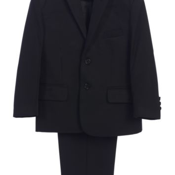 (Sale) Boys Size 7 Black Two-Piece Suit w. 2-Button Jacket & Trousers