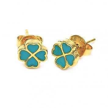 Gold Layered 02.64.0379 Stud Earring, Flower and Heart Design, Turquoise Enamel Finish, Gold Tone