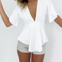 SIMPLE - Chiffon Sexy Backless Ruffle Strappy V Neck Shirt blouse Top Casual Boho Top Shrit T-shirt b2170