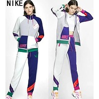 Nike Newest Fashion Women Men Casual Long Sleeve Sweater Coat Pants Sweatpants Set Two-Piece Sportswear