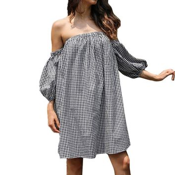 Off-the-Shoulder Black and White Gingham Dress