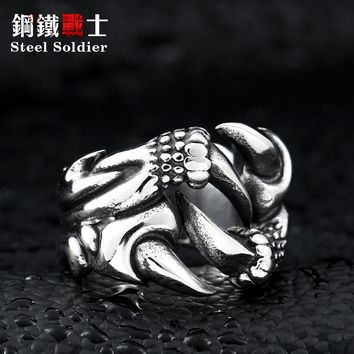 steel soldier punk dragon claw ring for men stainless steel good detail promotion jewelry
