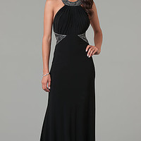 Long Black Halter Prom Dress by Morgan and Company