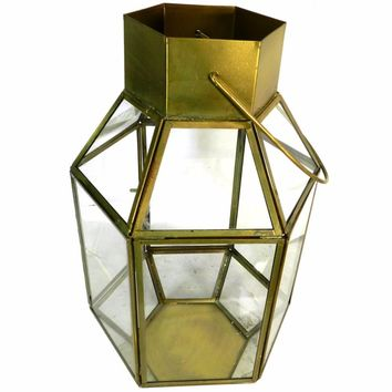 Antique metal and glass lantern gold and clear by benzara