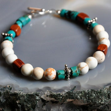 Turquoise White Jasper Bracelet, Sterling Silver by GueGueCreations