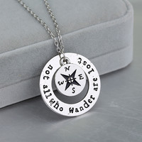 """New fashion Wanderlust handstampe Jewelry Travelers Necklace Wanderlust """" Not All Who Wander Are Lost"""" Inspirational Jewelry."""