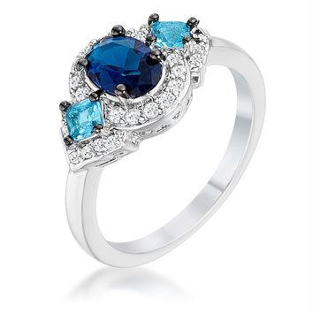1.3Ct Rhodium and Hematite Plated Shades of Blue CZ Three Stone Engagement Ring, Size 5