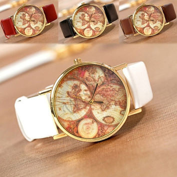 Fashion World Map Globe Leather Alloy Unisex vintage Analog Quartz watches Wrist watch + Gift Box