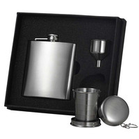 Visol Stainless Steel Hip Flask, Funnel and Shot Cup Gift Set - 6 oz
