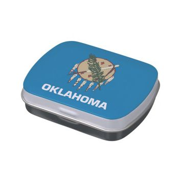 Patriotic candy tins with Flag of Oklahoma