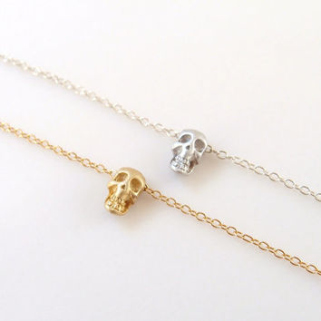 Tiny gold skull bracelet - 14k gold filled - dainty everyday jewelry