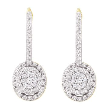 10kt Yellow Gold Womens Round Diamond Flower Cluster Dangle Leverback Earrings 1/2 Cttw