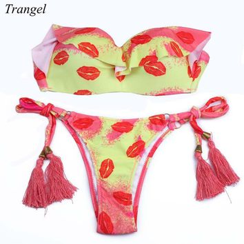 Trangel New Design Brazilian Cut Bikini Push UP Neon Bathing Suit