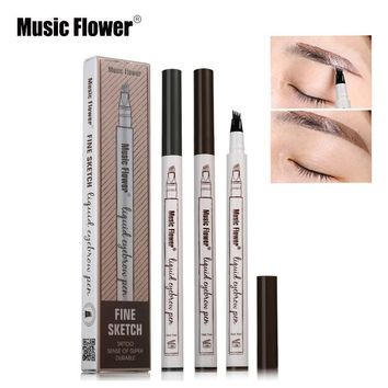Music Flower Waterproof Microblading Tatto Eyebrow Ink Pen Ultra-thin Carving Eyebrow Tattooing Pencil Sweat-proof Double Eended