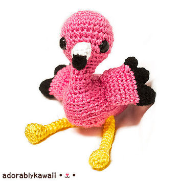 Pink Flamingo Amigurumi, Flamingo Nursery Toy, Cute Pink Bird, Pink Stuffed Animal, Crochet Flamingo, Pink Flamingo Plush, Pink Baby Toy